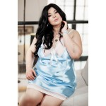 plus size-019 Elise Satin Chemise In Blue S-6XL Chemises-Nine X